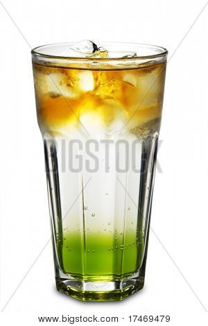 Layered Alcoholic Cocktail made of Cognac, Soda and Banana Syrup. Isolated on White Background