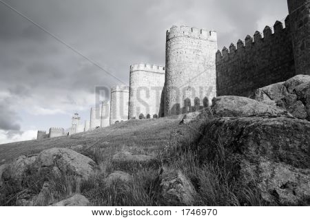 Avila City Walls B&W