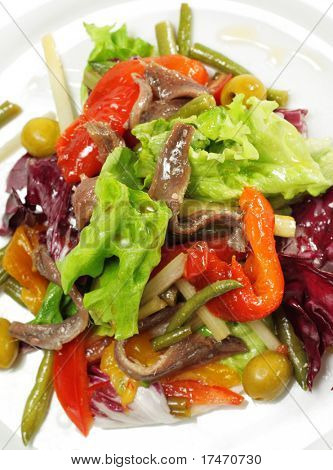 Salad with Anchovy, Olive and Vegetable Leaf