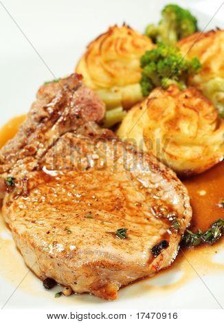 Pork Brisket with Potato and Broccoli