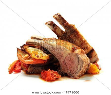Roasted Lamb Chops with Asian-Style Vegetables. Isolated on White Background