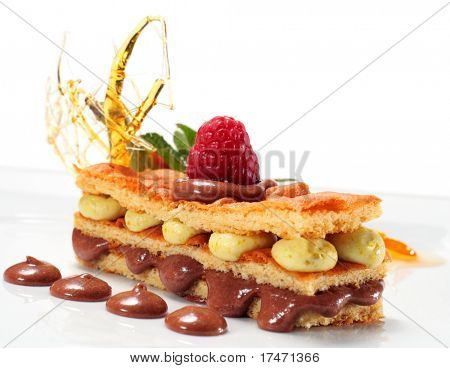 Sponge Cake with Chocolate and Pistachio Mousse and Fresh Raspberry