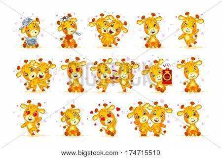Set Vector Stock isolated Emoji have date let s go out marry me hello hi waving in love sleepy you are cute dance miss sick hugs be mine drink party friend character cartoon giraffe stickers emoticon.