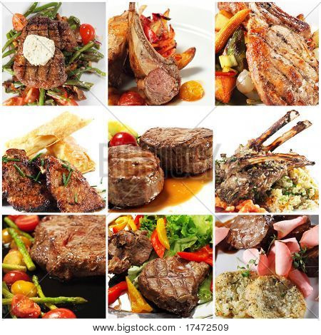 Collage from Photographs of Hot Meat Dishes