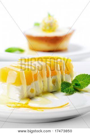 Dessert - Orange Cheesecake with Fresh Mint