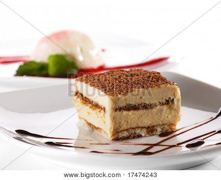 Dessert - Tiramisu Cheesecake with Chocolate Sauce