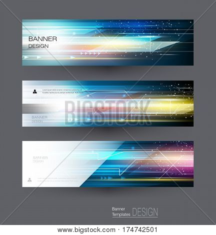 poster of Abstract banners set with image of circuit board, speed movement pattern and motion blur over dark blue color. Science, futuristic, energy technology concept. Vector background for web banner, template or brochure
