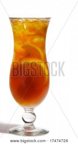 Long Island Iced Tea with Lemon. Isolated on White Background
