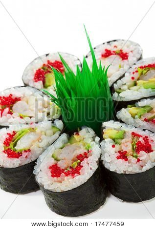 Maki Sushi made of Cucumber, Prawn (ebi), Avocado, Salad Leaf and Tobiko (flying fish roe) inside