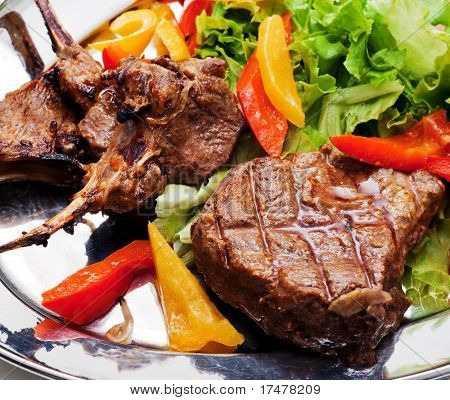 BBQ Meat with Vegetables and Greens