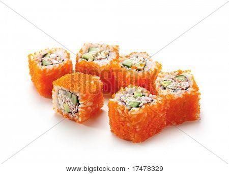 California Maki Sushi with Masago  - Roll made of Imitation Crab, Avocado, Cucumber, Japanese Mayonnaise inside. Masago (smelt roe) outside