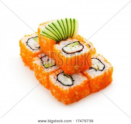 California Maki Sushi with Masago  - Roll made of Crab Meat, Avocado, Cucumber, Japanese Mayonnaise inside. Masago (smelt roe) outside