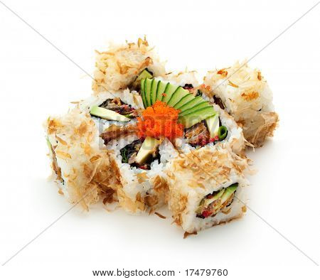 Bonito Maki Sushi - Rolls with Salmon Skin, Cucumber and Avocado inside. Dried Bonito Shaved outside