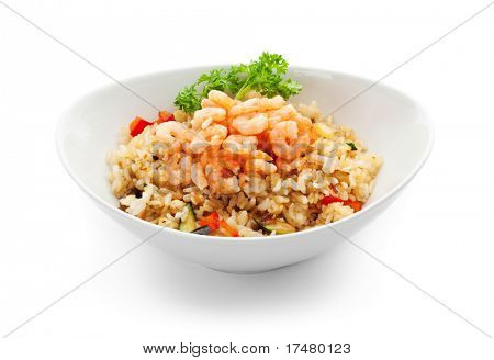Rice with Shrimp, Cabbage, Mushrooms and Paprika