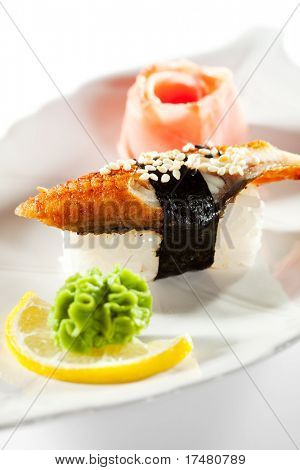 Japanese Cuisine -  Smoked Eel (unagi)Nigiri Sushi with Ginger and Wasabi