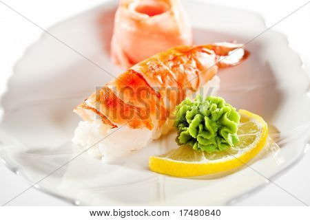 Japanese Cuisine -  Shrimp Nigiri Sushi with Ginger and Wasabi(ebi) Nigiri Sushi with Ginger and Wasabi