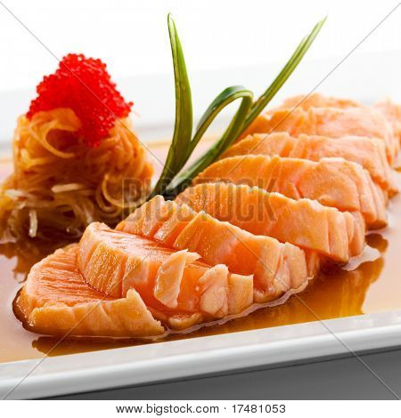 Japanese Cuisine - Salmon Fillet with Noodles and Sauce