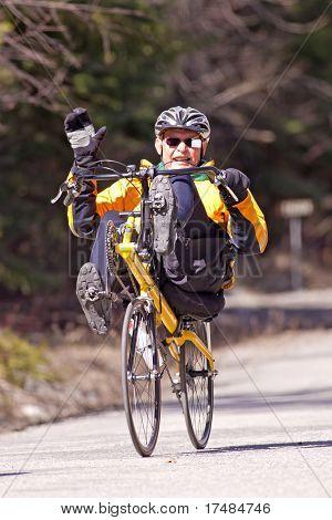 Man On Recumbent Bike.