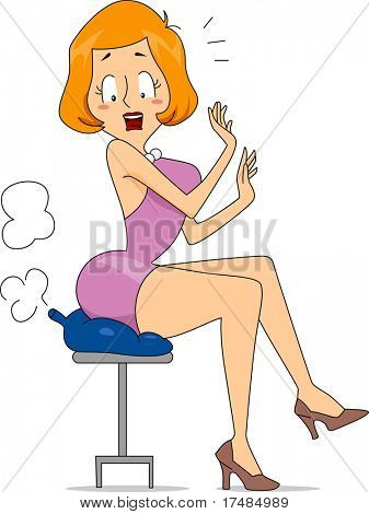 Illustration of a Woman Sitting on a Fart Cushion