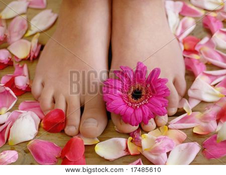 Feet and flower petals