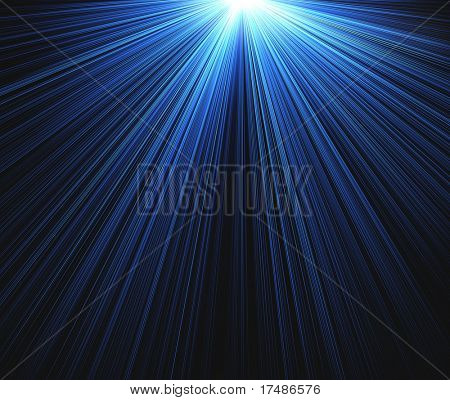Blue rays on black background