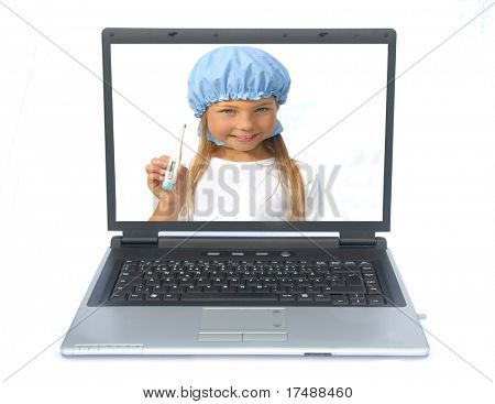 A little doctor repairing a sick computer, a laptop