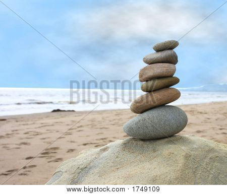 Balanced Beach Pebbles