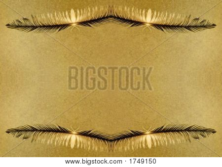 Grunge Feather Border Parchment Background