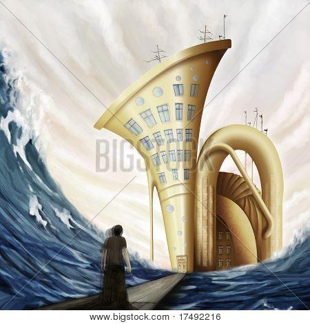 Man Standing On Bridge Near Tuba House In Ocean In Fantasy World, Digital Painting