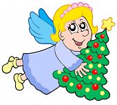 Cute angel holding Christmas tree - vector illustration.