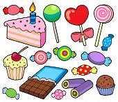 Candy and cakes collection - vector illustration.
