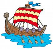 Постер, плакат: Викинг лодка на белом фоне векторные иллюстрации