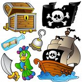 Pirate collection with wooden ship - vector illustration.