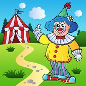 stock photo of circus clown  - Funny clown with circus tent  - JPG