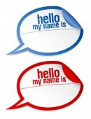 Color name tag blank stickers hello my name is, in form of speech bubbles.