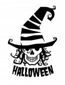 Постер, плакат: Ухмыляющийся Ведьмак в шляпе Хэллоуин иллюстрации