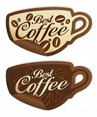 stock photo of coffee cups  - Best coffee stickers in form of cup - JPG
