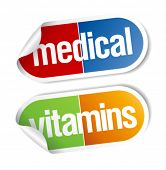 Vitamins, pills medical stickers set.