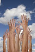 image of peer-pressure  - Hands Reaching For the Future With Cloudy Blue Sky - JPG