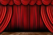 stock photo of swag  - Dramatic Bright Red Stage Drapes With Many Swags - JPG