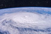 Typhoon Over Planet Earth - Satellite Photo. poster