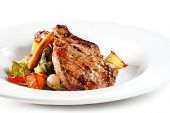 stock photo of roasted pork  - Pork Plate with Vegetables - JPG