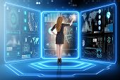 Businessman in big data management concept poster