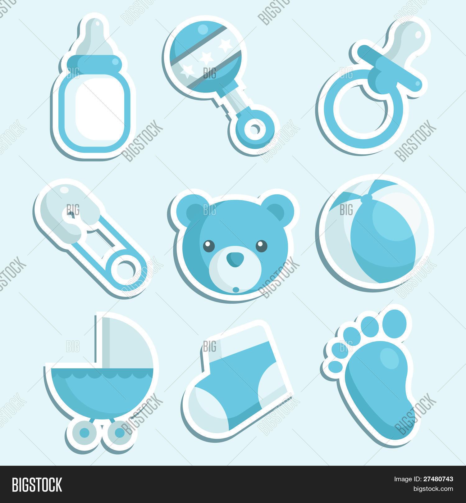 Vector y foto baby shower azul de los iconos bigstock - Photo baby shower ...