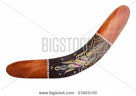 Wooden Boomerang With Painted Lizard