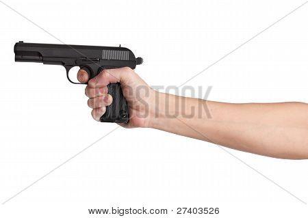 Arma em sua mão estendida de um homem