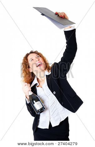 Excited business woman enjoys a successful deal. In her hands files and a bottle of champagne. Isolated over white background