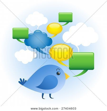 Social network concept. Blue bird with network of chat bubbles.