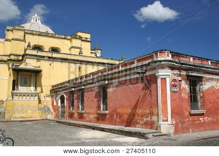 Two of Antigua Guatemala's ancient stone churches