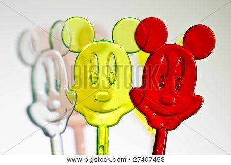 Three colorful plastic mice